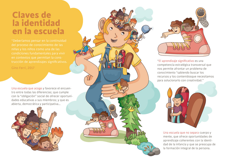 Illustration of School as a Giant with kids
