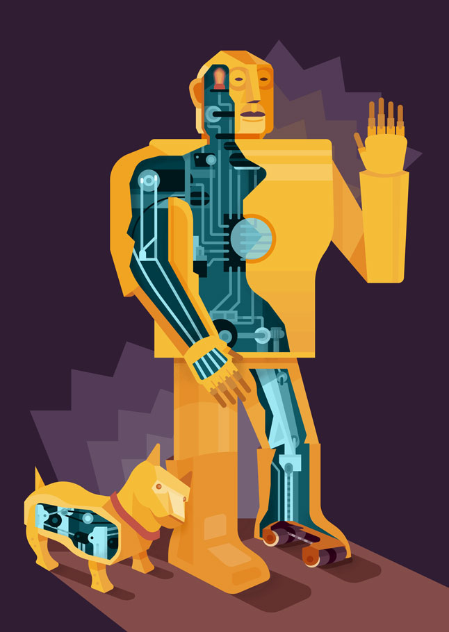 Illustration of Elektro Robot and his dog Sparko